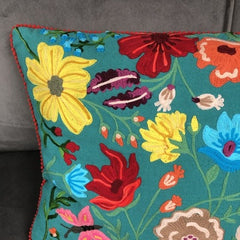 Green Floribunda Embroidered Wildlife Cushion