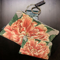 Velvet Makeup Bag & Pouch set, Coral Peony. Velvet cream, coral and green print.  Cream cotton lining.