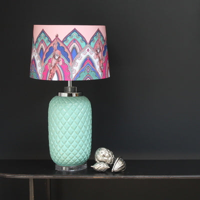 Matthew Williamson Jaipur Jewel lamp, pink, pale blue, Mandela motif
