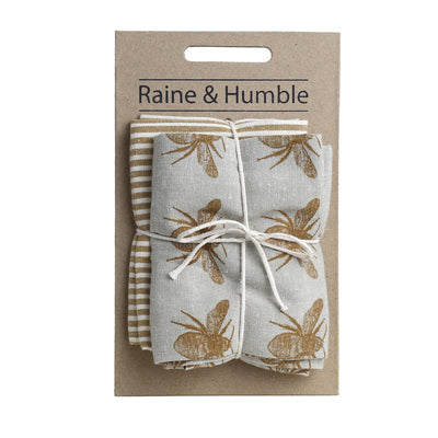 Recycled Honey Bee Tea Towel 2 pack, Mustard