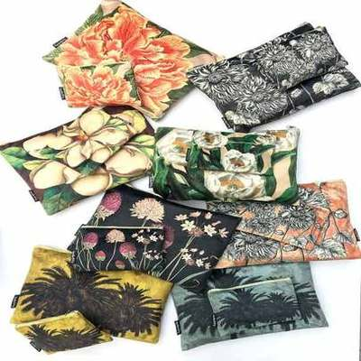Velvet Makeup Bag & Pouch Set by VanillaFly.  Six unique and raw designs in botanical to choose from.