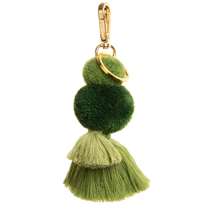 Pom Pom Tassel Clip & Keyring, Moss colour.  Two Pom Poms and two tassels