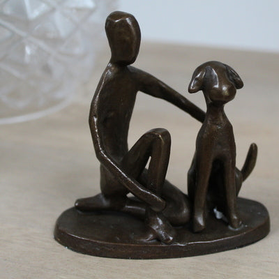 One Man & His Dog solid bronze sculpture