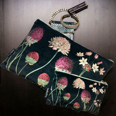 Velvet Makeup Bag & Pouch Set, Black Chives. Black velvet background with pink chives and floral print.  Cream Cotton inner lining.