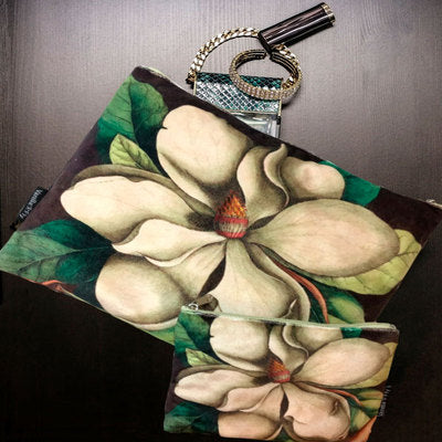 Velvet Makeup Bag & Pouch Set, Cream Flower. Black background, large cream flower and green foliage print. Cream cotton inner lining.