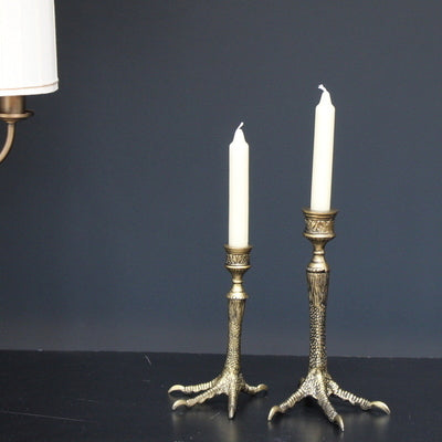 Bird Feet Antique Brass Candle Holder (Set of 2) Medium & Small