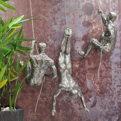 Climbing Men Trio Silver Colour Wall Art