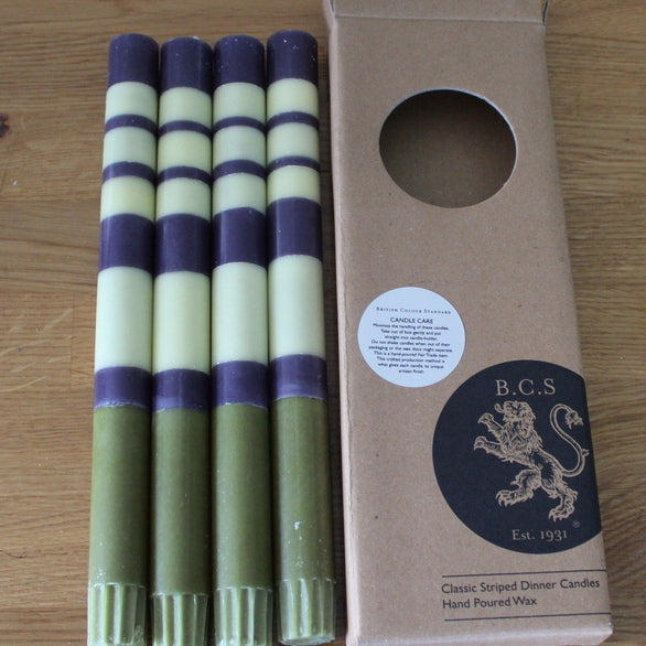 Stripe Indigo, Jasmine & Olive Eco Dinner Candles, 4 per pack