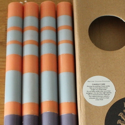 Stripe Gunmetal Grey, Opalin & Marigold Eco Dinner Candles, 4 per pack