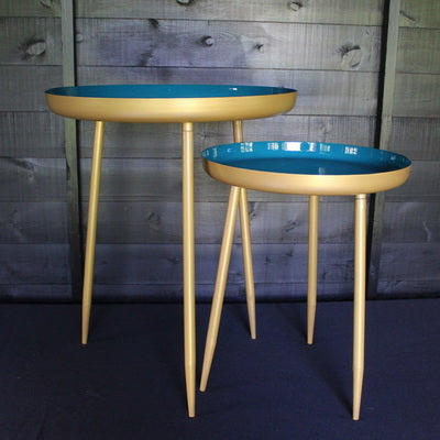 Teal/Green and Gold Round Side Table, Small and Large