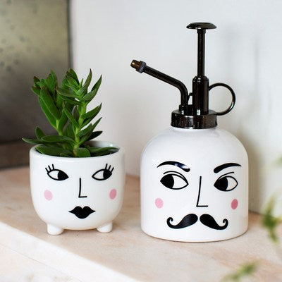 Mister & Mrs Plant Set.  White Mister and mini plant pot with Mr & Mrs Faces painted on them.