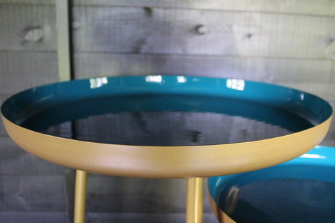 Teal/Green and Gold Round Side Table, Large