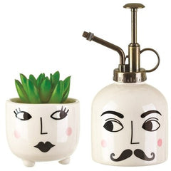 Mister & Mrs Plant Set.  White plant mister and mini plant pot with Mr & Mrs quirky faces painted on them.
