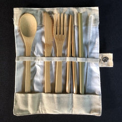 Bamboo Cutlery Set, 7-pieces. Includes spoon, knife, fork, chopsticks, bamboo straw and wire straw brush cleaner.