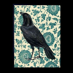 Raven Poster & Black Frame, 20x25cm. Black raven with a floral blue design background for a quirky and contemporary style