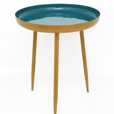 Teal/Green and Gold Round Side Table, Small