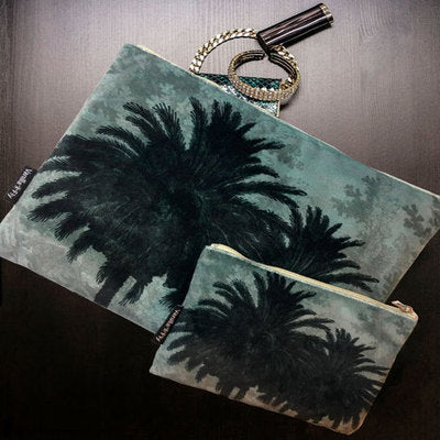 Velvet Makeup Bag & Pouch, Blue Palm. Made from velvet outer side, cream cotton lining, zip opener