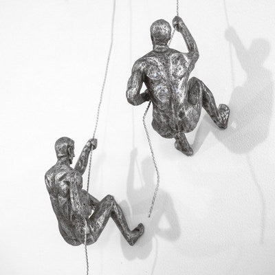 Climbing Men Duo Silver Colour Wall Art