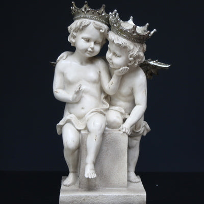 Two Young Angels Sculpture with silver crowns and wings