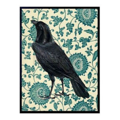 Raven Poster & Black Frame, 20x25cm.  Black Raven with blue floral wall paper style background for a quirky, contemporary look.