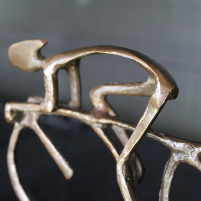 Cyclist solid bronze sculpture