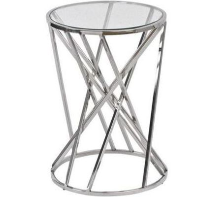 Nickel Twist Round Side Table with Glass Top