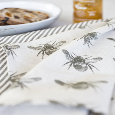Recycled Honey Bee Tea Towels 2 Pack, Olive Green