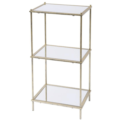 Mylas three tier brass shelving unit with mirrored panels