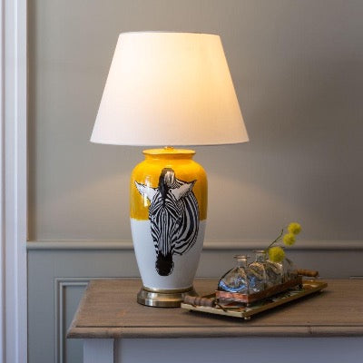 Zebra Table Lamp with White Shade