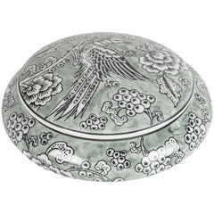 Exotic Bird Print Ceramic Round Blow with Lid in olive green, white and black print