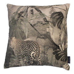 Velvet Jungle Cushion Grey