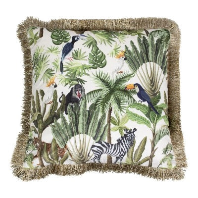 Velvet Jungle Toucan White Cushion, Gold Fringe