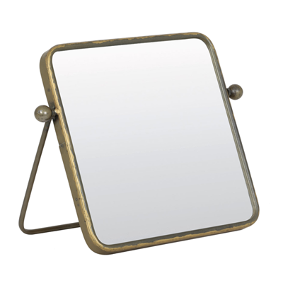 brass table top mirror, retro styling