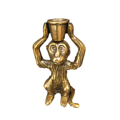 Brass monkey, single candle holder