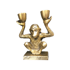 Brass monkey, two candle holder