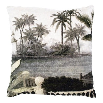 Velvet Palms Grey Cushion