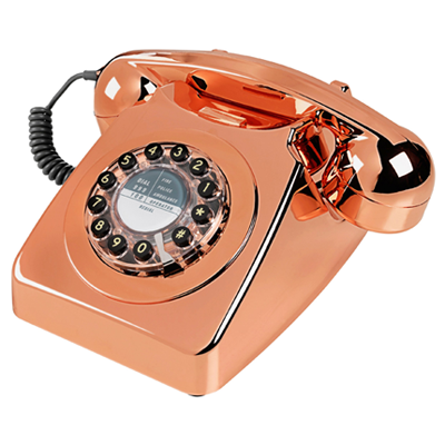 british retro telephone, 60's style telephone, copper