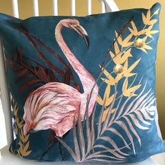 Teal Vegan Suede Cushion with Pink Flamingo illustration