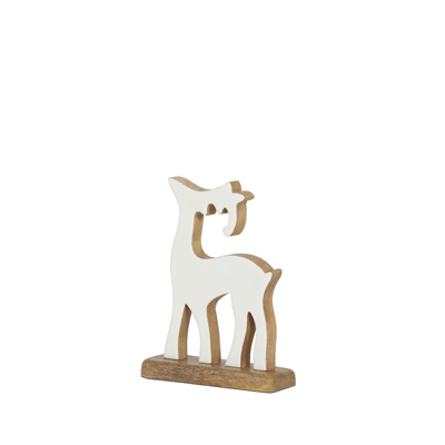 Christmas Reindeer White Enamel Natural Wood