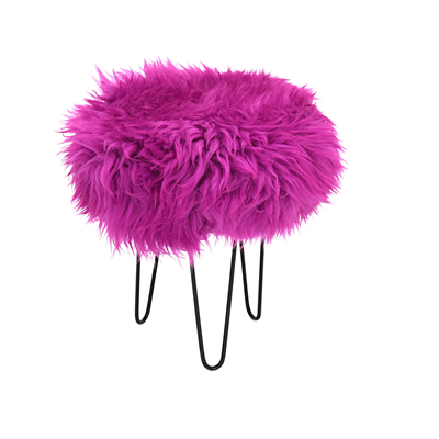 Gladys & Charles, Cerise Pink, British sheepskin bar stool, occasional seat, hair pin legs in black, cerise sheepskin, removal sheepskin cover