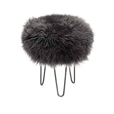 Gladys & Charles, Baa sheepskin stool, slate grey colour, British sheepskin cover, three hairpin legs in antique iron, removable British sheepskin cover.