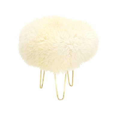 Gladys & Charles, Nina Baa British Sheepskin stool, ivory colour, British sheepskin cover, three hairpin legs in rustic gold, removable British sheepskin cover.