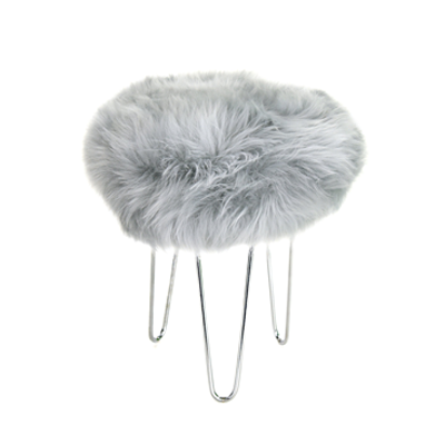 Gladys & Charles, Talulah baa British sheepskin, footstool in sliver, British sheepskin, round base, hairpin legs in chrome