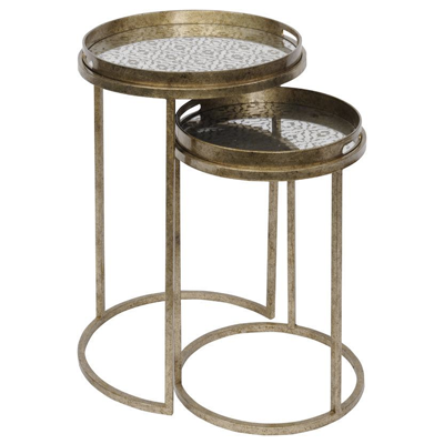Vienna antique gold diamond set of 2 side tables, nesting design, removable tray top tables