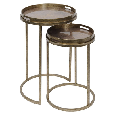 Vienna Antique Gold Atlas Set of 2 Side Tables
