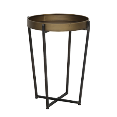 Tortola side table, bronze and black metal