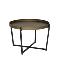 Tortola coffee table, black and bronze metal