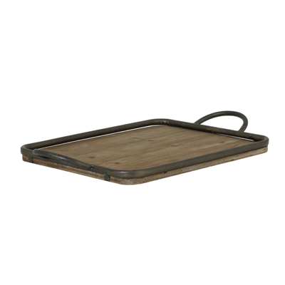 Moulon wood and zinc tray, medium