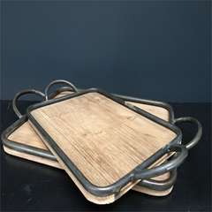 Moulon wood and zinc tray, small