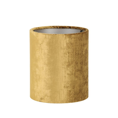 Velour cylinder lampshade in gold, 17 x 17 x 23 cm